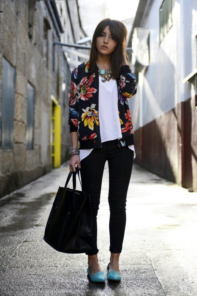 trend çiçekli ceket kombinleri