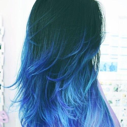 Mavi Ombre Saç Rengi Ve Saç Modelleri Kızlara Moda
